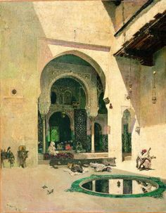 "Mariano Fortuny: ""The Court of the Alhambra"", 1871, oil on canvas, Dimensions:75 x 59 cm, Current location: Museu Fundacio Gala-Salvador Dali."