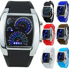 RPM Turbo Blue Flash LED Mens Unique Cool Classic Sports Car Meter Dial Watch #yishengmall2014uk
