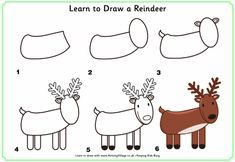 Tekenles voor kinderen. Hoe teken je een rendier stap voor stap. | groep 4 groep 5 groep 6 | How to draw a reindeer step by step | primary school |
