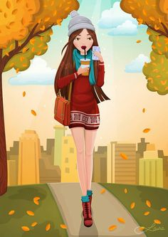 "First of my ""autumn ladies"". Princess Zelda, Autumn, Facebook, Lady, Illustration, Fictional Characters, Illustrations, Fall"
