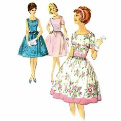1960s Full Skirt Dress Simplicity 4853 Vintage Sewing Pattern