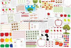 Free+Printable+Activity+Sheets+with+a+fun+fall+apple+theme.+Great+for+kids+ages+2-7.