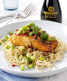 Salmon in lemongrass and ginger marinade with coriander salsa