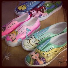 Disney Tangled custom painted Vans/Chucks/Toms by whimsyrogue, $150.00