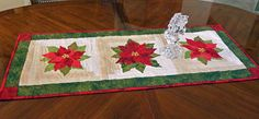 Elegant Red Christmas Pointsettia Quilted Table by ColoradoQuilts, $45.00