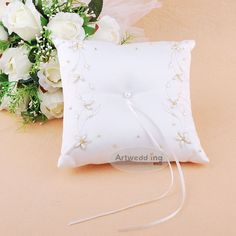 Beaded Satin Wedding Ring Pillow with Pearl Embroidery