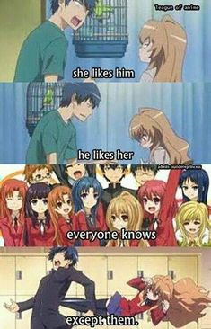 Anime: Toradora Funny anime :) that's how it is with a lot of manga. Anime Meme, Otaku Anime, Manga Anime, Anime Qoutes, Tsundere, Funny Anime Couples, Image Hilarante, Image Manga, I Love Anime