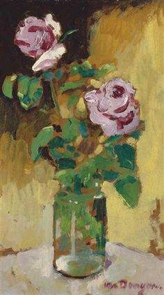 Kees van Dongen (Dutch, 1877–1968) - Roses in a vase, c. 1930–40 - Oil on Masonite