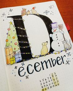 Bullet journal monthly cover page, December cover page, Holiday drawings, Winter drawings. @veja_creates