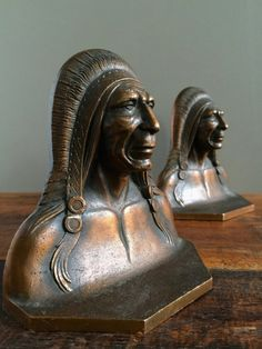 Art Deco Native American Indian Chief Bronze Bookends, 1920s. ◅