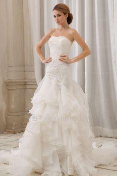 Organza und fleck trägerlosen gericht zug meerjungfrau hochzeitskleid mit gesticktem - Focus Vogue
