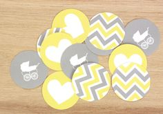 Printable: Chevron Shower or Party Cupcake Toppers. $5.00, via Etsy.