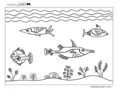 Free Printable Designs | ... by Joel Underwater Fish Design Coloring Sheet Free Printable Template