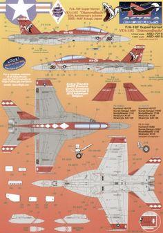 Super Hornet 165892 Diamondbacks Anniversary scheme 2005 NAF Atsugi or standard scheme with coloured fuselage band 165894 CAG scheme 165888 standard scheme F18 Hornet, Top Down Game, Cutaway, War Machine, 50th Anniversary, Game Art, Fighter Jets, Decals, Aircraft