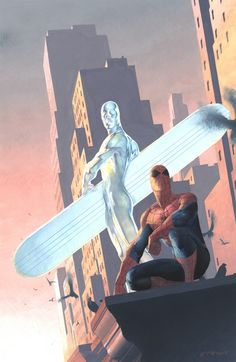 Silver Surfer and Spider-Man by Esad Ribic