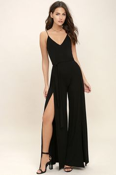 833c060bb651 The Just Breathe Black Jumpsuit will leave you breathless! Breezy jersey  knit
