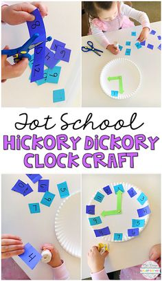 This hickory dickory clock craft is a great combination of fine motor skills, number identification and counting practice, perfect for tot school, preschool, or the kindergarten classroom.