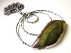 Becalmed - long organic freeform pea moss green morrisonite jasper stone, twisted root vine circles, sterling silver open bezel necklace by LoveRoot on Etsy