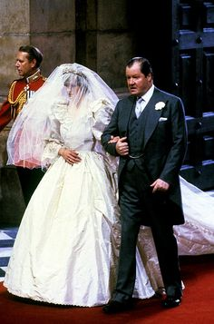 One of Diana's biggest concerns on her wedding day was the health of her beloved father, Earl Spencer.  Due to a stroke years earlier he had great difficulty walking. Thus father and daughter spent time practicing their long walk up the aisle. They walked slowly and he occasionally leaned on her for some support-however, they disguised this well due to those repeated rehearsals.