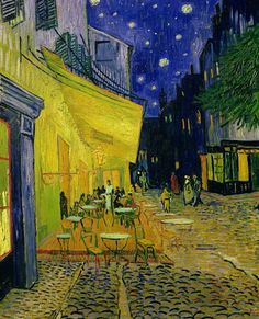 'Cafe Terrace, Place du Forum, Arles' by Vincent van Gogh (1888) The spiral of creation is feminine, therefore. we all living life forms come from the heart of the goddess in us, beauty and creation are my motives for being, find here my own art work and great artists 4 life, go green and self-sufficient with renewable energies that cost no money, http://ninaohman4life.wordpress.com/
