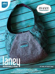 Laney is an easy to sew reversible hobo bag sewing pattern designed and written for Pellon. This is a great place to begin if you are new to bag-making.