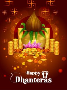 Illustration about Vector illustration of Gold Kalash with decorated diya for Happy Dhanteras Diwali festival holiday celebration of India greeting background. Illustration of culture, greeting, auspicious - 129712817 Happy Dhanteras Hd Images, Happy Dhanteras Wishes, Diwali Wishes, Happy Diwali, What Is Diwali, Diwali 2018, Diwali Diya, Celebration Background, Diwali Celebration