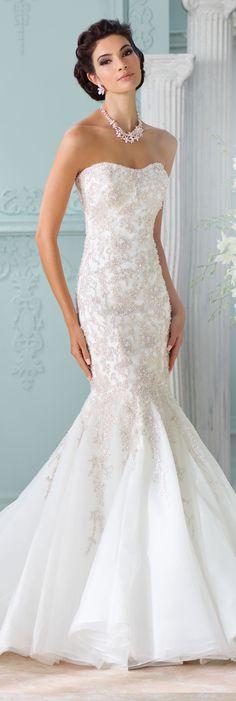 The David Tutera for Mon Cheri Spring 2016 Wedding Gown Collection - Style No. 116227 Apollonia #laceweddingdresses