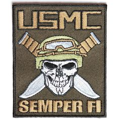 Shop embroidered military and veteran iron on patches. Military patches and veteran morale iron on patches for vests, biker jackets and clothes. Iron On Patches, Skull Patches, Semper Fi, Marine Corps, Usmc, The Unit, Military, Embroidery, Fictional Characters