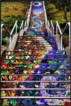 These tiled San Francisco steps were created by 220 neighbors in Golden Gate Heights. Just one of the neatest neighborhood projects I've seen. It's a heck of a climb actually, but the detail is incredible, just a little hidden SF treasure. Full site at: www.neonphoto.com
