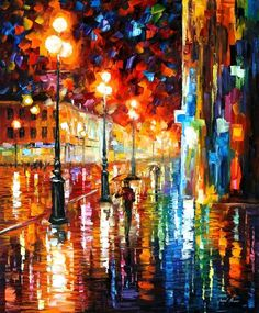 THE TEMPO OF THE RAIN — PALETTE KNIFE Oil Painting On Canvas By AfremovArtStudio. Official Shop: https://www.etsy.com/shop/AfremovArtStudio