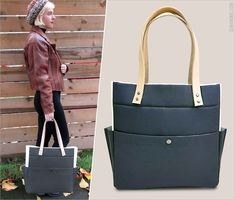 Moderní Two Tone Tote s Tandy Leather diakritikou: Fabric Depot | Sew4Home