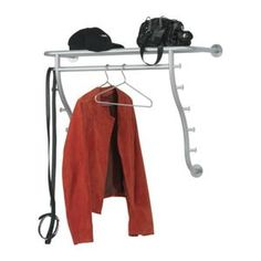 New IKEA Logga Hat and Coat Rack with Hooks Steel Silver Wall Mounted Hanging