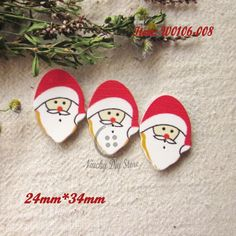 Cartoon Christmas deer Wooden Buttons decoration Kid/'s craft Sewing 34mm
