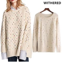 Find More Pullovers Information about Withered winter sweater women christmas sweater high street beading o neck oversize loose women sweaters and pullovers plus size,High Quality women christmas sweater,China women sweaters and pullovers Suppliers, Cheap women sweater from Withered Store on Aliexpress.com