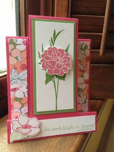 Center step Florets by mommacharles - Cards and Paper Crafts at Splitcoaststampers Scrapbook Cards, Scrapbooking, Center Step Cards, Side Step Card, Stepper Cards, Pin Card, Fun Fold Cards, Flower Cards, Stampin Up Cards