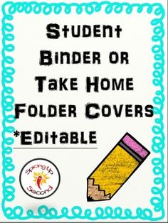 Take home folders are essential to help students to stay organized. In this file is a cute page to put in the front of binders or folders. The boarder included is Aqua. I plan to add more colors. When complete an update will be made available. All you have to do is type in your students names.