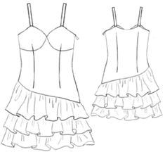 Dress with frills - a lot of other free sewing patterns on this site!