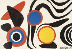 Alexander Calder (American, Jolly nice, Gouache, 75 x 110 cm. Art Works, Kinetic Sculpture, Alexander Calder, 1970s Art, Abstract Art, Teaching Art, Art, Abstract, Modern Art Abstract