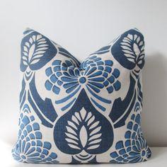 Vervain Carpazzo Indigo Floral Linen Pillow by IndigoBlissBoutique