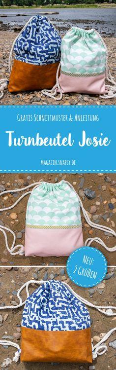 """Free pattern: gym bag """"Josie"""" and """"Big Josie .- Kostenloses Schnittmuster: Turnbeutel """"Josie"""" und """"Big Josie"""" Free sewing pattern: """"Josie"""" and """"Big Josie"""" gym bag – Snaply magazine - Baby Knitting Patterns, Knitting For Kids, Sewing For Kids, Sewing Patterns Free, Free Sewing, Free Knitting, Free Pattern, Pattern Sewing, Crochet Patterns"""