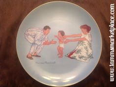 """Vintage Norman Rockwell Collector's Plate """"""""Baby's First Step"""""""" measures 8.5"""""""" diameter w/gold painted trim ECO007A"""