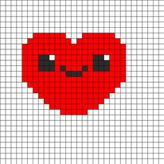 Cute Kawaii Heart Perler Bead Pattern | Bead Sprites | Misc Fuse Bead Patterns