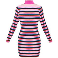 Pink Stripe Rib Dress ($28) ❤ liked on Polyvore featuring dresses, ribbed dress, pink dress, pink stripe dress, pink striped dress and striped dress