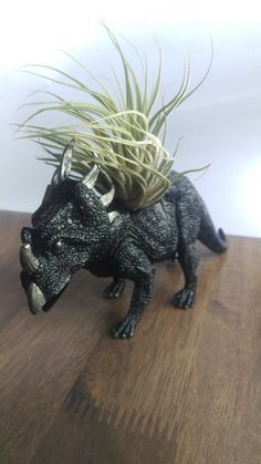 Check out this item in my Etsy shop https://www.etsy.com/uk/listing/260366552/sale-black-dinosaur-planter-up-cycled