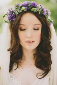 Purple flower head wreath for woodland wedding