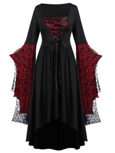 Halloween Party Long Dress For Women Plus Size Skull Lace Bell Sleeve High Waist Maxi Dress Ladies Slim Vestidos De Festa Vestidos Vintage, Vintage Dresses, Plus Size Dresses, Plus Size Outfits, Plus Size Casual, Casual Dresses, Fashion Dresses, Cheap Dresses, Dress Outfits