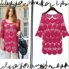 Hot Pink Crochet 3/4 Sleeve Tunic OS Brand new absolutely adorable hot pink crochet lace tunic with 3/4 length sleeves.  Boho chic look. Great with jeans or over a sundress or bathing suit. I have two different  colors available-the one as shown in pics 1 and 2 and the coolor as is shown in Pics 3 and 4. Marked Size L but fits S-M, maybe slim large. 2 available in each pink color. Available in blue in another listing. Tops Tunics