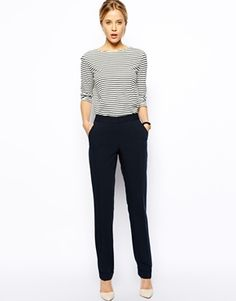 longish straight-legged trouser, preferably with slash pockets and side zip...black definitely, other neutral colors if possible