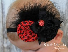 Ladybug Headband-Ladybug Hair Bow-Ladybug Birthday Bows-Ladybug Hair Bows-Ladybug headband-Lady bug Headbands-Ladybug birthday party. $14.25, via Etsy.