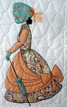 """""""Bonnet Girl Relatives & Friends"""", (included in the Tearoom also). Madelyn is out for afternoon tea dressed in her finest bonnet and bow trimmed skirt. A fancy umbrella matches her bonnet. Quilt Block Patterns, Applique Patterns, Applique Quilts, Applique Designs, Embroidery Applique, Girls Quilts, Baby Quilts, Quilting Projects, Quilting Designs"""